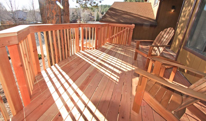 Redwood Deck with Redwood handrails