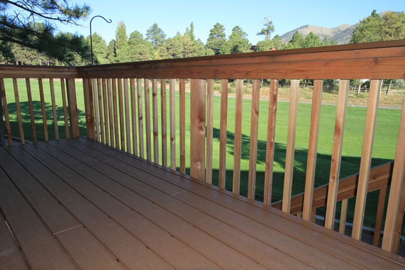 Trex deck and redwood handrails in Country Club area of Flagstaff Arizona