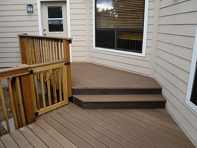 Trex Decking with Redwood Handrails