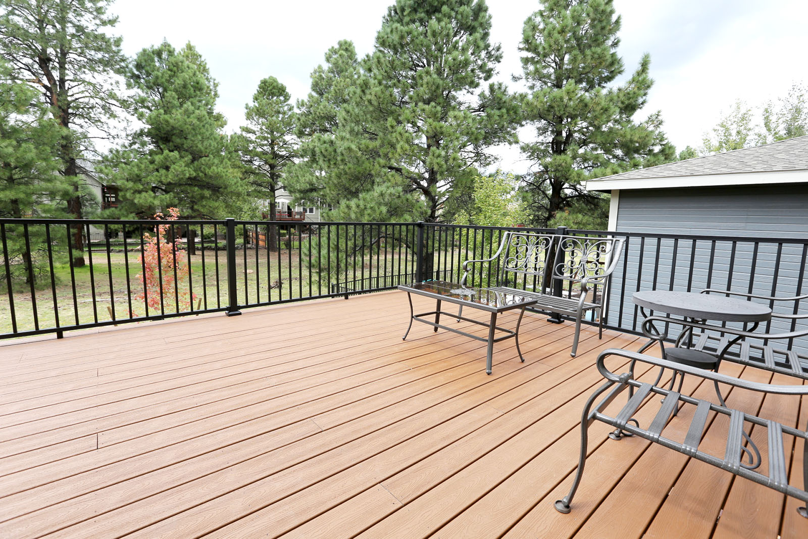 Trex Reveal Railings in Black on a Trex Transcends deck