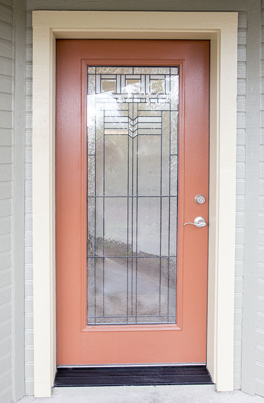 Exterior side of a custom front door with a full lite glass option