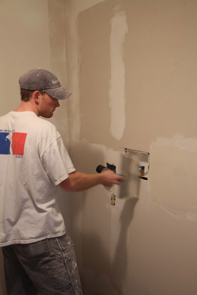 Floating drywall as part of a laundry room remodel