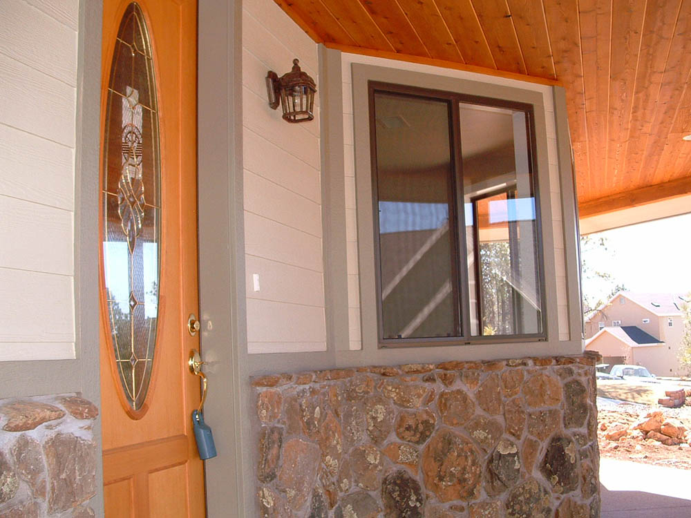 Custom front entry to one of our custom homes in Flagstaff AZ